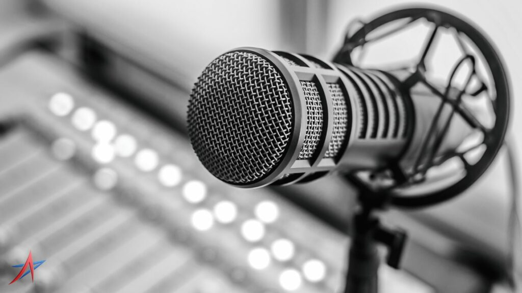 close up of microphone in radio station