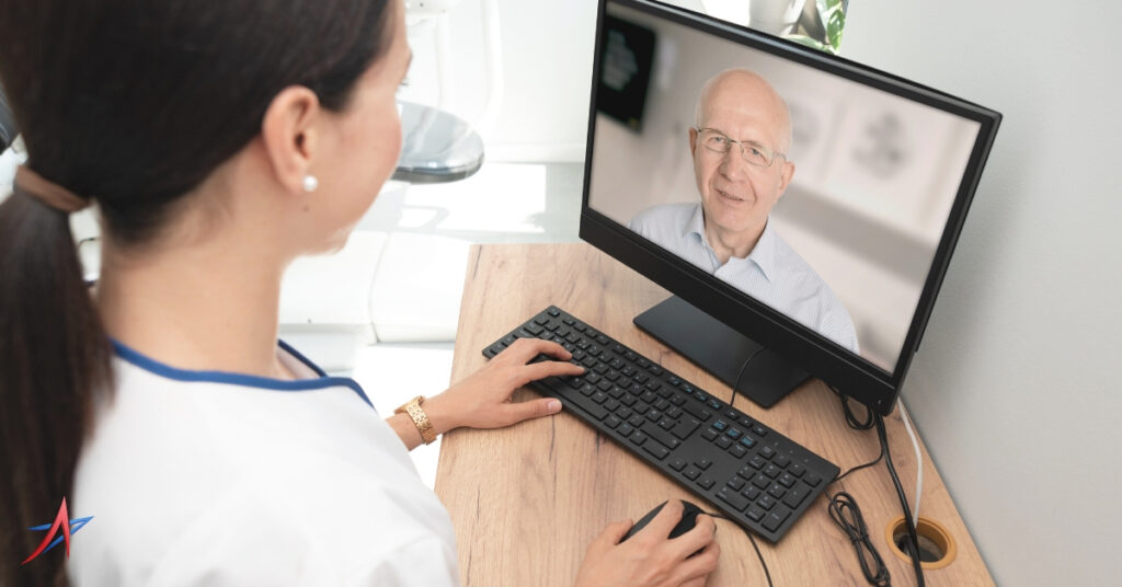 senior man in telehealth appointment with doctor