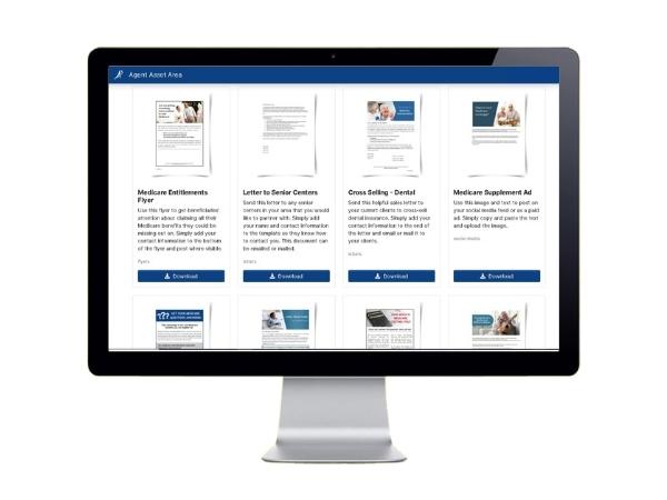 screenshot of marketing downloads in the a3 dashboard